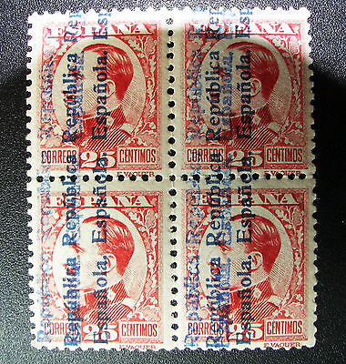 Bloque B4 598hh raro MNH Alfonso ** 1931 nuevo doble sobrecarga Spain 900€ good