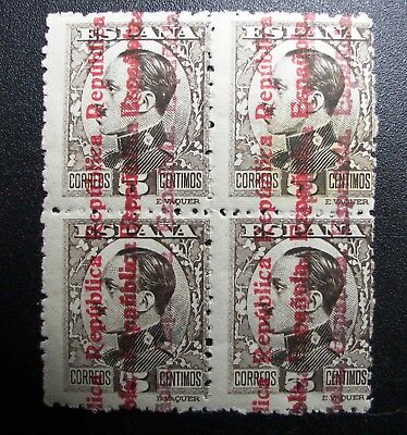 Raro bloque B4 594hh MNH Alfonso ** 1931 nuevo doble sobrecarga Spain 900€ good