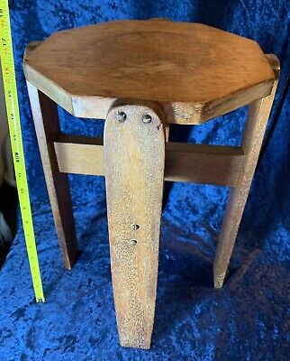 "Antique Mission Oak Arts & Crafts Octagon Side Table Plant Stand 16"" Sturdy"