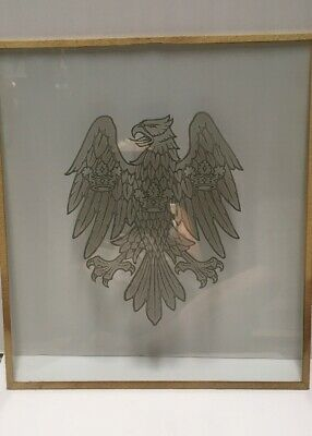 Vintage Large Etched Glass Welsh Falcon With Three Crowns Special Case Included