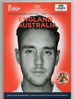 Ashes Cricket 2Nd Test England V Australia Programme. 14-18 Aug 2019.  Lords