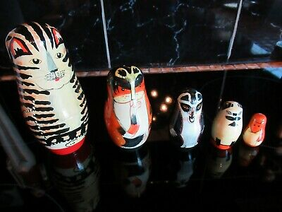 Russian Nesting Dolls Hand Painted Wood Cats 5 Piece *