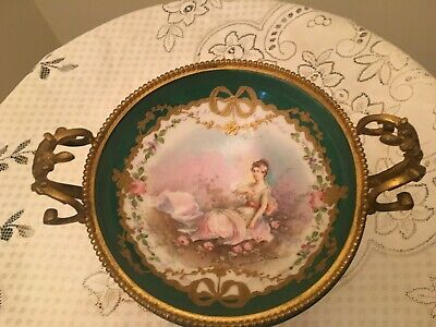 Antique French Handpainted  Porcelain Sevres And Bronze Handle Compote !!!!
