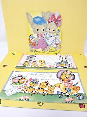 Three 1950s Vintage Amer-i-Card Easter Cards -- One with Flocked Front