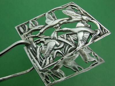 Vintage Sterling Pastry Serving Tongs w/ pierced scene of Ducks Geese & Cattails