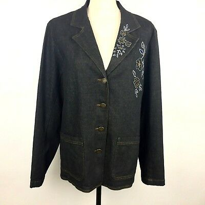 Susan Graver Womens Size Large Black Denim Boxy 4 Button Jacket with Beading