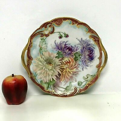 Antique Limoges Hand Painted Chrysanthemum Flower Plate Tray