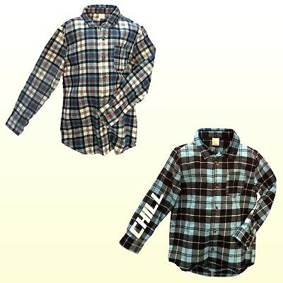 Boys Woven Flannel Plaid Long Sleeve Button Front Shirt Crazy 8 Separates NWT