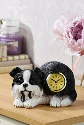 New - BORDER COLLIE DOG CLOCK - Mantlepiece - Ornament - Gift