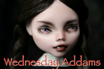 CUSTOM REPAINT OOAK ART DOLL Wednesday Addams Monster high