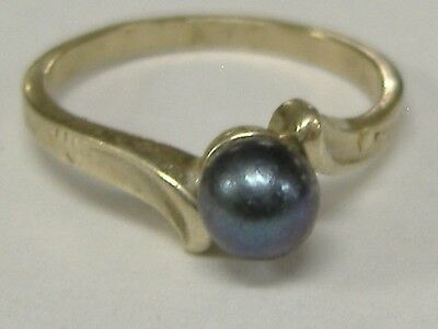 Vintage Solid 14K White Gold 5 Mm Natural Pearl  Ring Size 5,5