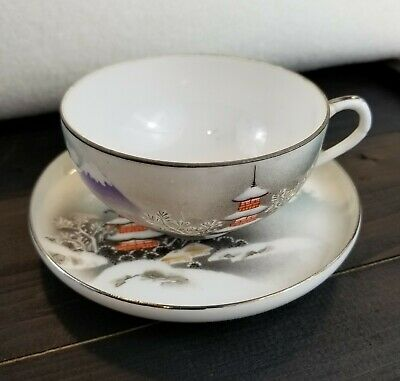 Vintage Collector Cup Japanese Hand Painted Signed Thin Porcelain Teacup Saucer