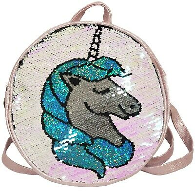 Kids Girls Unicorn Backpack Light Pink Reversible Blue Silver Pearl Sequin Bag