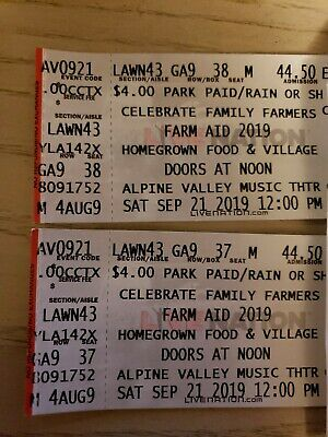 2 Farm Aid Lawn Tickets For Alpine Valley Saturday September 21st, 2019