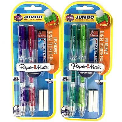 Paper Mate Mechanical Pencil 0.7mm Starter Set With 6 HB Led And Erasers NEW