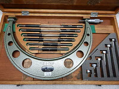 """Mitutoyo 6"""" To 12"""" Outside Micrometer 104-138 With Original Wood Case Machinist"""