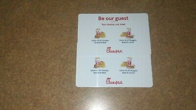 Lot 2 Chickfila Meal Choice Coupon Card Be Our Guest Voucher Promotional