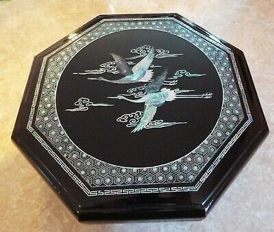 Lg. Vintage Octagon Mother Of Pearl Inlay Crane Birds Storage Box. Compartments