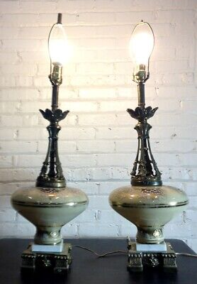2 Vtg Gold Glass Marble Brass Table Lamps Sears Mid-Century Hollywood Regency