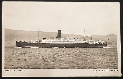 ss California . Anchor Line Steamship Cruise Boat Liner Ship Torpedoed WWII Sunk