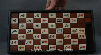 "14"" Antique Chinese Bone/Bamboo Mah Jongg Set ebony wood Box Mahjong 148 Tiles"