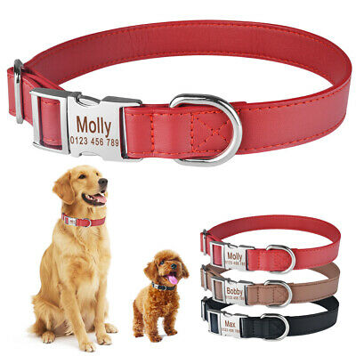 Soft Leather Personalized Dog Collar Small Large Pet Name Tag Free Engraved S-L