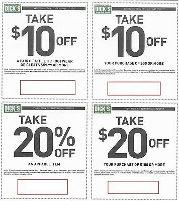 Dick's Sporting Goods IN STORE ONLY! $10 off $50, $20 off $100 + 2 MORE!