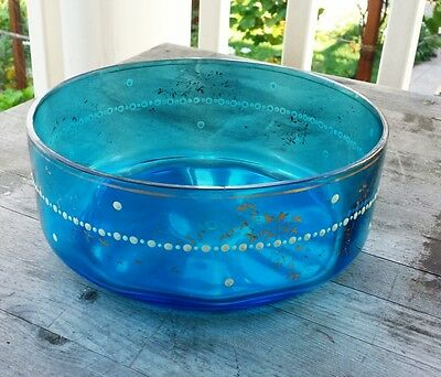 Rare Large Handblown Bohemian Blue Glass Bowl – White Enameling, Gilt Decoration