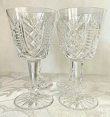 4 Elegant Waterford Crystal Clare White Wine Glasses, Old Mark, Excellent Cond