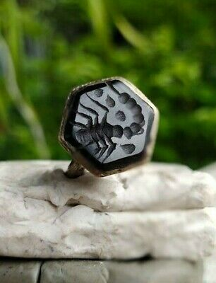 Scorpion  Old Black Agate Stone Afghan Turkish Agate  Intaglio Islamic Ring 7 US