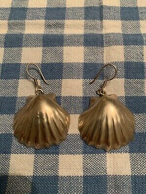 MEXICO 925 CRO Sterling Silver - Vintage Ribbed Sea Shell Wire Earrings TR 17gr