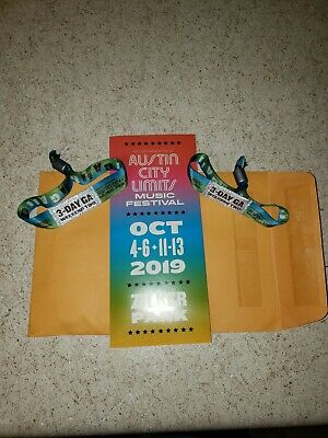 **2 Wristbands** 2019 Austin City Limits Fest Weekend Two 3-Day GA OCT 11-13