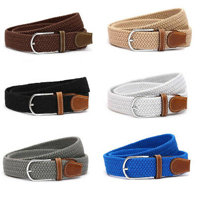 Men Leather Braided Elastic Stretch Cross Buckle Casual Golf Belt Waistband Hot
