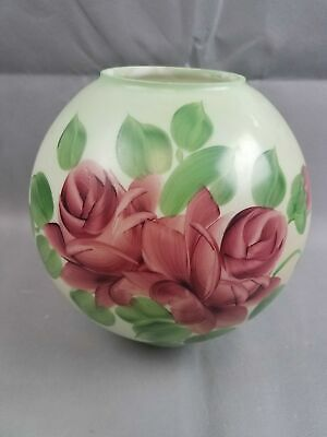 """GWTW Oil Lamp Hand Painted Roses Lamp Shade Globe Green Red 8.5"""" wide 4"""" fitter"""