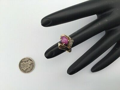 Vintage 14K Yellow Gold, Pink Star Sapphire And Diamonds Ring Size 6.75, 5.2 Gr.