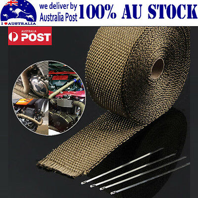 Car Exhaust Heat Wrap Titanium 10Mx50Mm Roll+10 Stainless Ties Insulation Hot