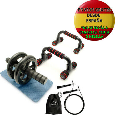 CampTeck U6759 Kit Entrenamiento barras push-up Flexiones Rueda Abdominal nuevo