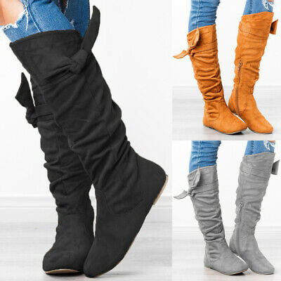 Women Faux Suede Flat Under Knee High Boots Ladies Zip Up Mid Calf Winter Shoes