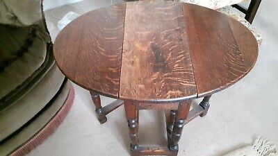 Small old antique  round solid Oak Drop Leaf occasional side table
