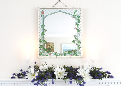 Crean Faux Bamboo floral birds Mirror Vintage Hand Painted Hall Bedroom