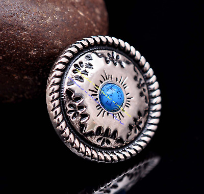 10X Silver Floral Engraved Leathercraft Saddles Leather Project Concho Turquoise