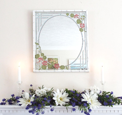 White Faux Bamboo pink flowers floral Mirror Vintage Hand Painted Hall Bedroom
