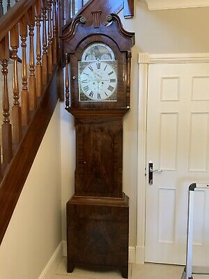 Antique Grandfather Flame Mahogany Clock
