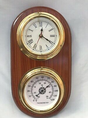 Brass Wooden Marine Nautical Clock Thermometer Weather Station -Gift