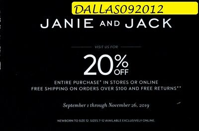 JANIE & JACK PROMO CODE COUPON  - Enjoy 20% off Entire Purchase!! - Exp 11/26/19