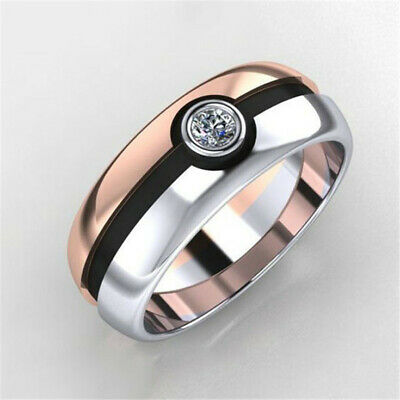 Fashion 925 Silver Two Tone Rose Gold White Topaz Band Ring Wedding Jewelry Gift