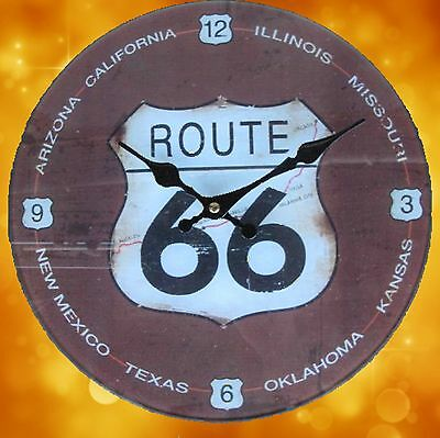 Wall Clock Route 66 Glass + Battery round D.30cm Gift in Vintage Aesthetics Rare