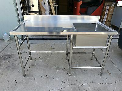 Brand New Stainless Steel Kitchen Single Sink with Bench 1500 x 600 x 900 mm