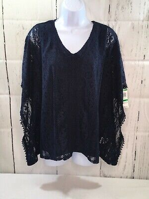 Style & Co. V-Neck  Blouse Lace Crochet 2-pc Poncho Cami Industrial Blue