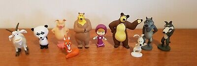 10 Masha and the Bear Cake Toppers plus Playmat & Story
